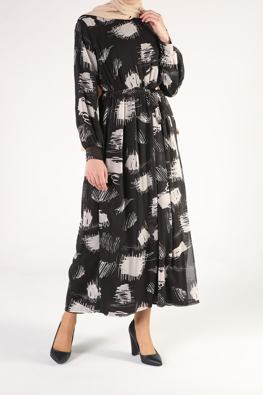 Belden Bağlamalı Astarlı Desenli Kloş Elbise