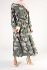 Belden Bağlamalı Desenli Kloş Elbise
