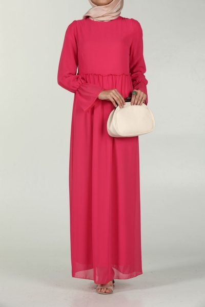CHIFFON DRESS WITH SHIRRED WAIST