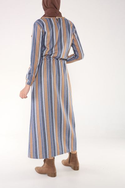 Beli Bağcıklı Kolları Lastikli Elbise