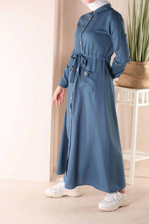 Beli Bağcıklı Düğmeli Elbise