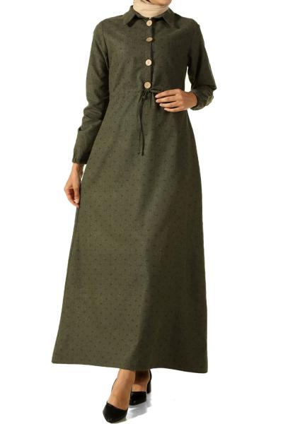 Beli Bağcıklı Patlı Desenli Elbise