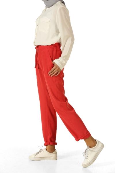 Beli Bağcıklı Tensel Pantolon
