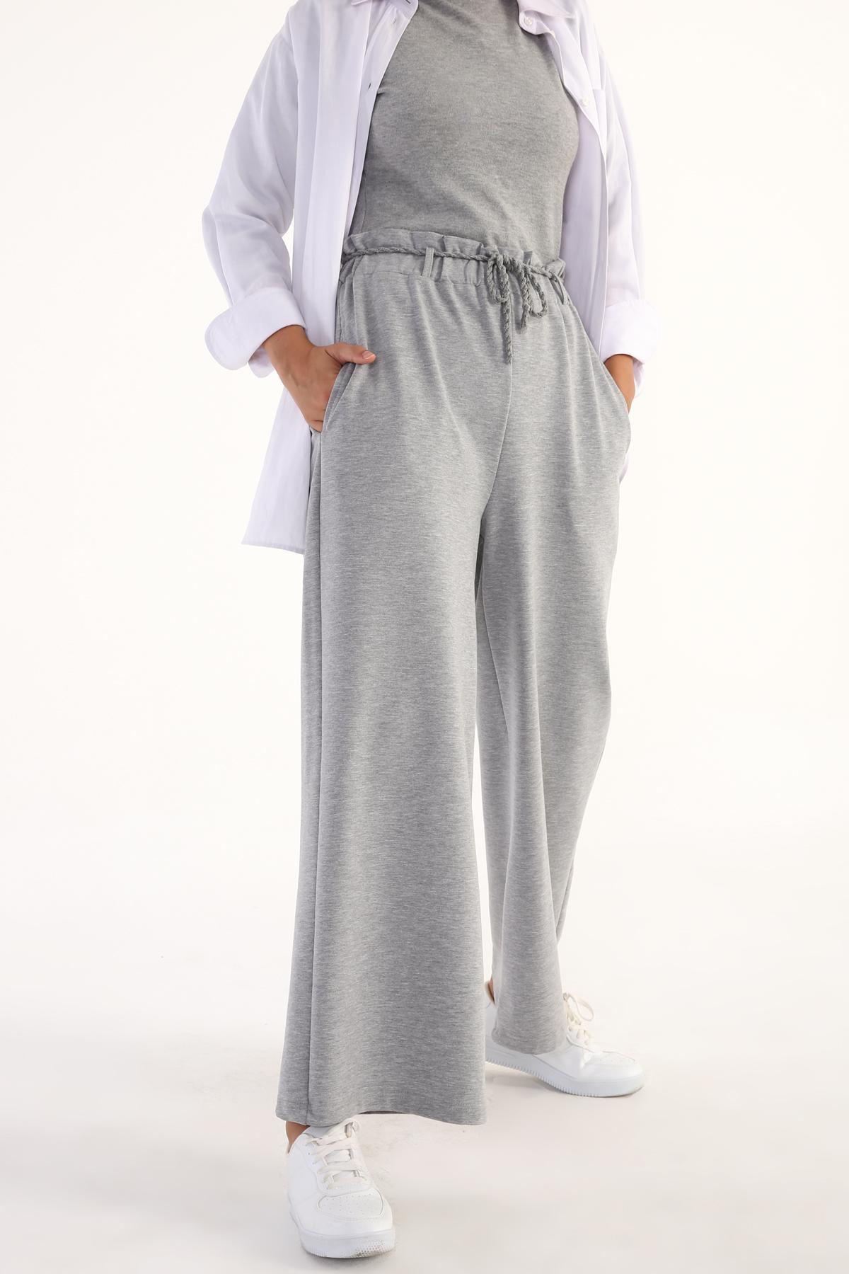 Beli Büzgülü Geniş Paça Cepli Pamuklu Pantolon