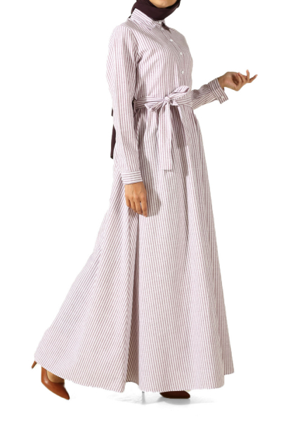 Beli Büzgülü Kuşaklı Elbise