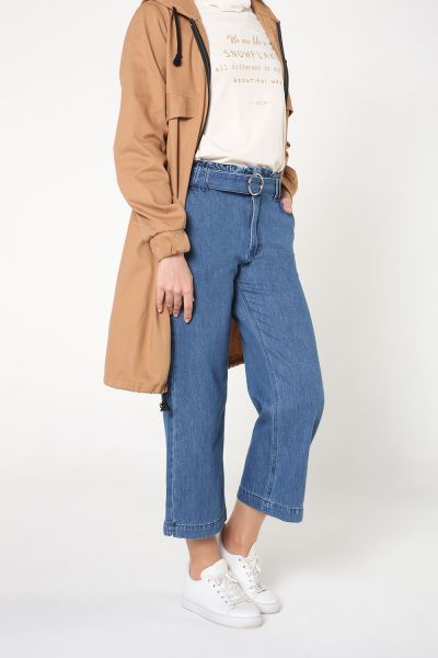 Beli Fırfırlı Kemerli Pantolon