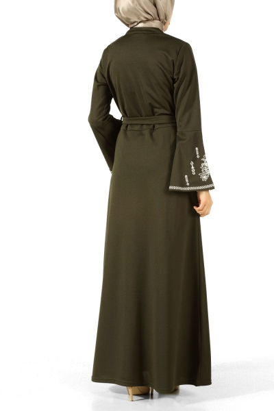 Kuşaklı Nakışlı Elbise