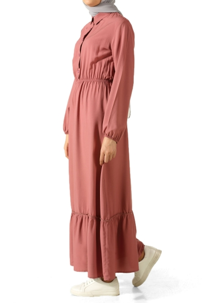 Beli Lastikli Astarsız Elbise