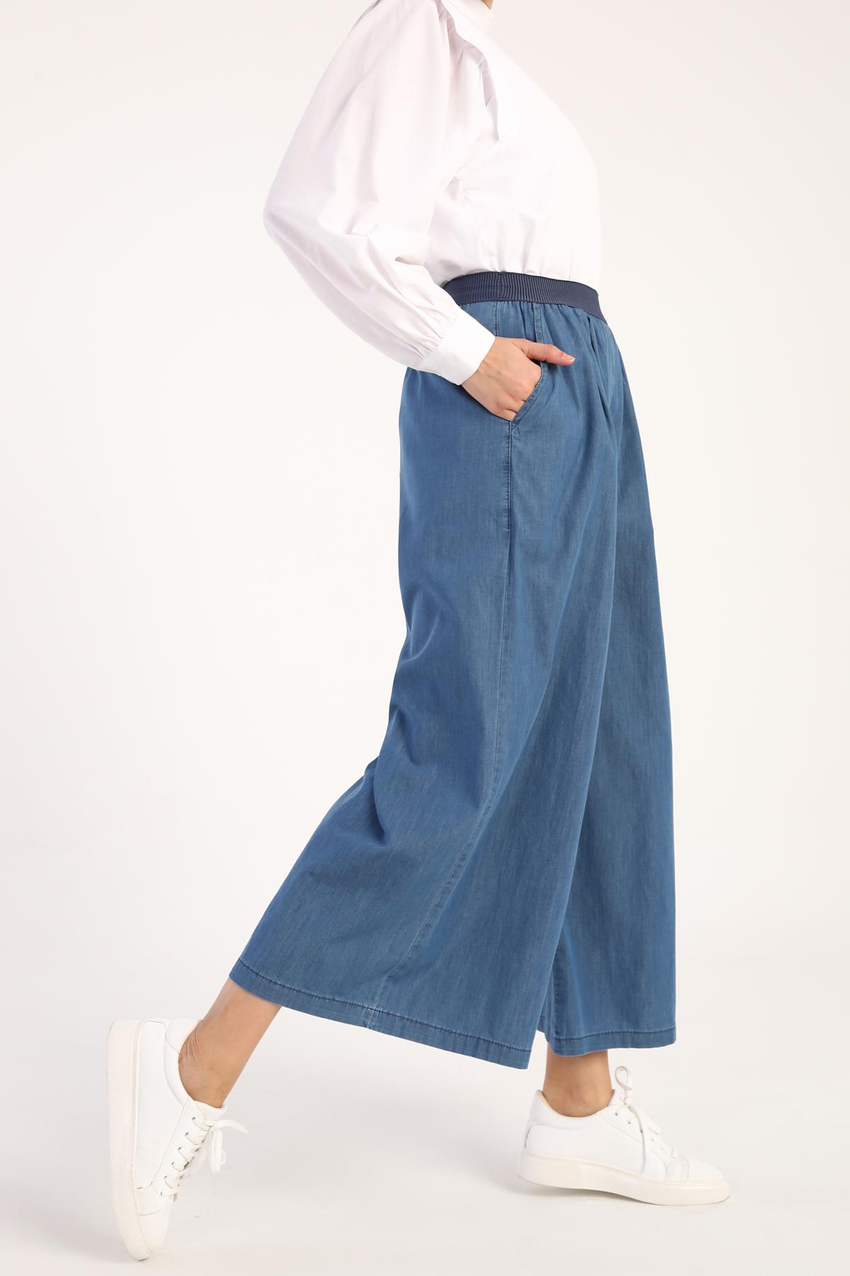 Comfy Elastic Waist Wide Leg Pants