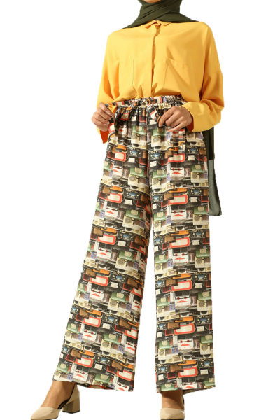 HIJAB ELASTIC WAIST PATTERNED PANTS