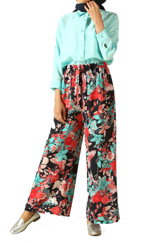 100% Viscose Comfy Floral Pants