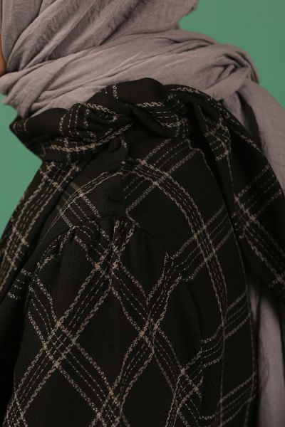 ELASTIC WAIST PLAID DRESS