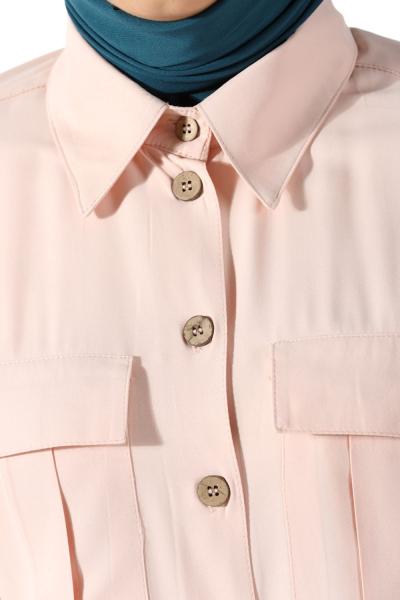 Kuşaklı Düğmeli Gömlek Elbise