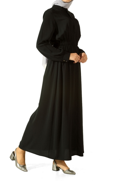 Beli Lastikli Fermuarlı Elbise
