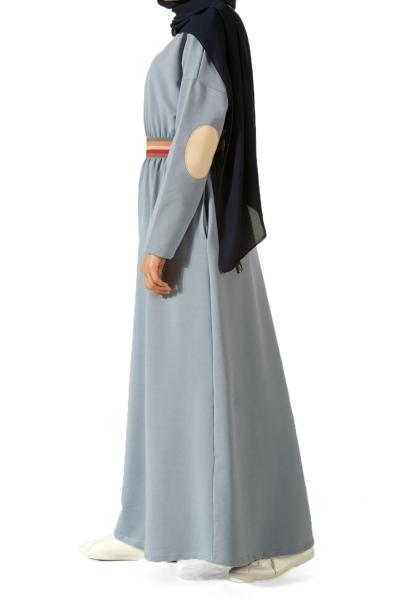 Beli Lastikli Kolu Yamalı Elbise