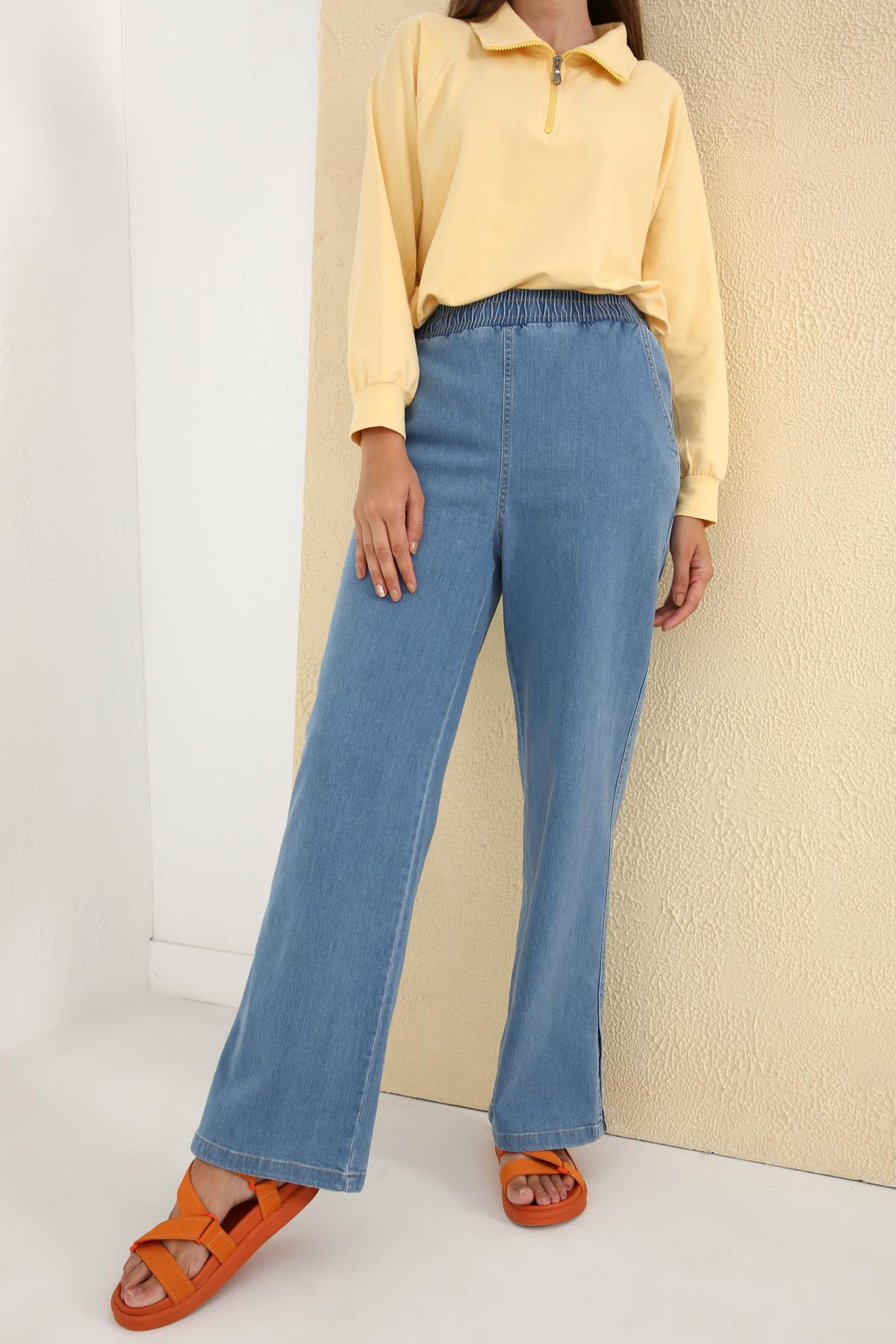Beli Lastikli Paçası Yırtmaçlı Denim Pantolon