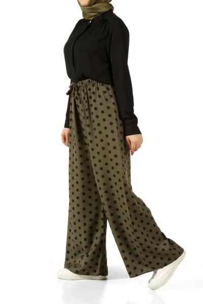 Beli Lastikli Puantiyeli Pantolon