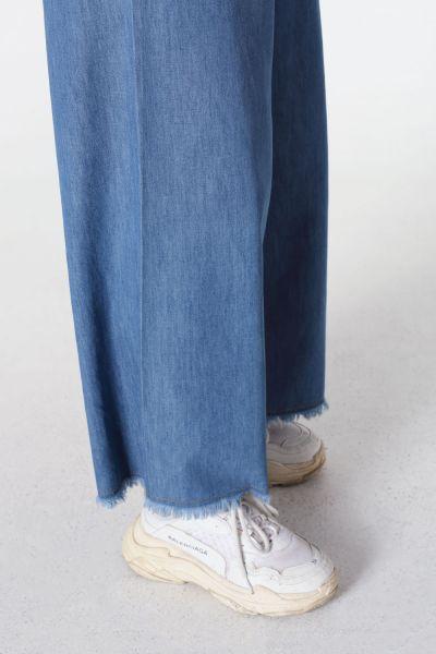Beli Lastikli Saçaklı Kot Pantolon