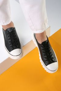 White Sole Lace-Up Sport Shoes