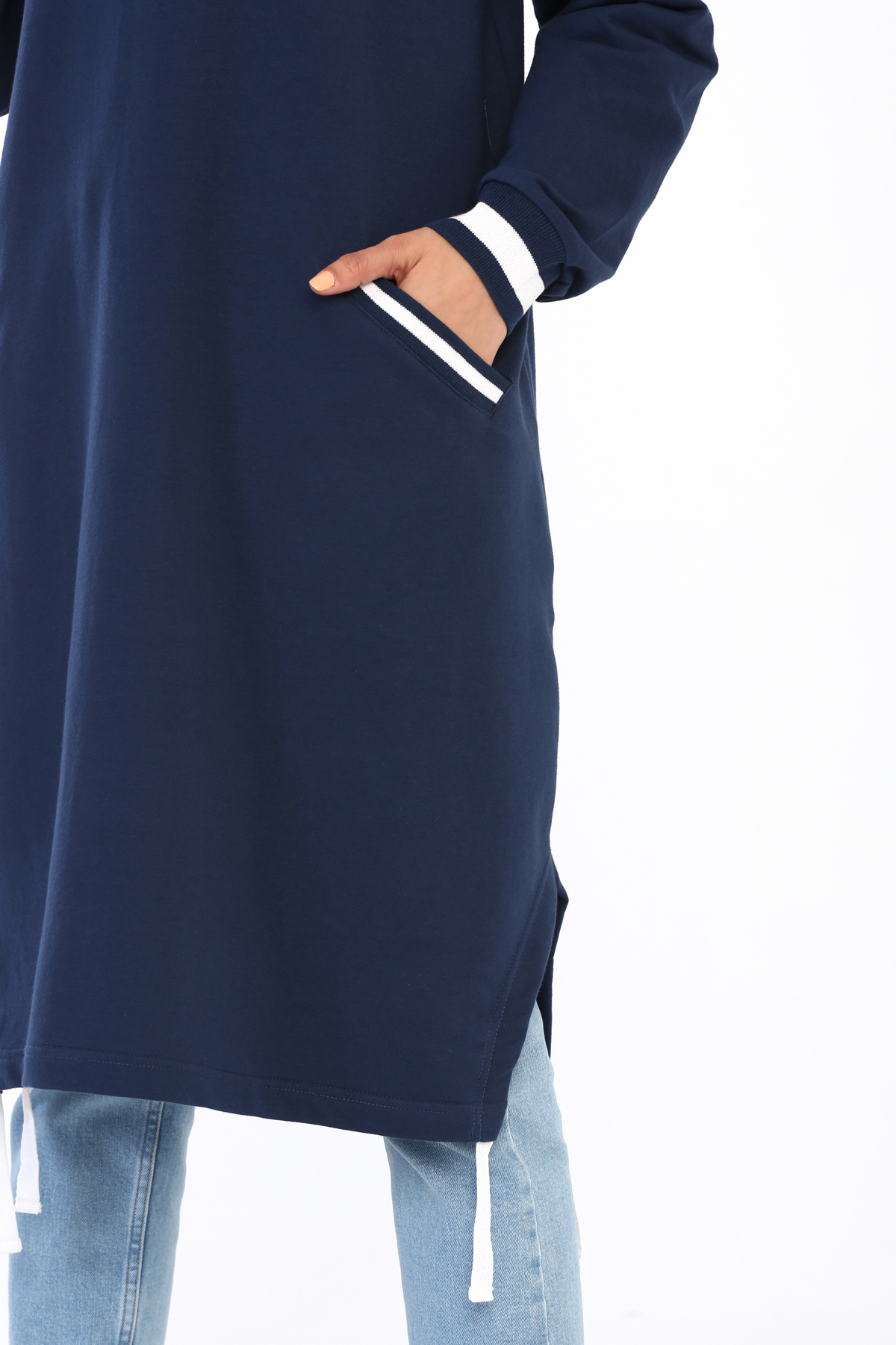 Plus Size Crew Neck Pocket Detail Tunic