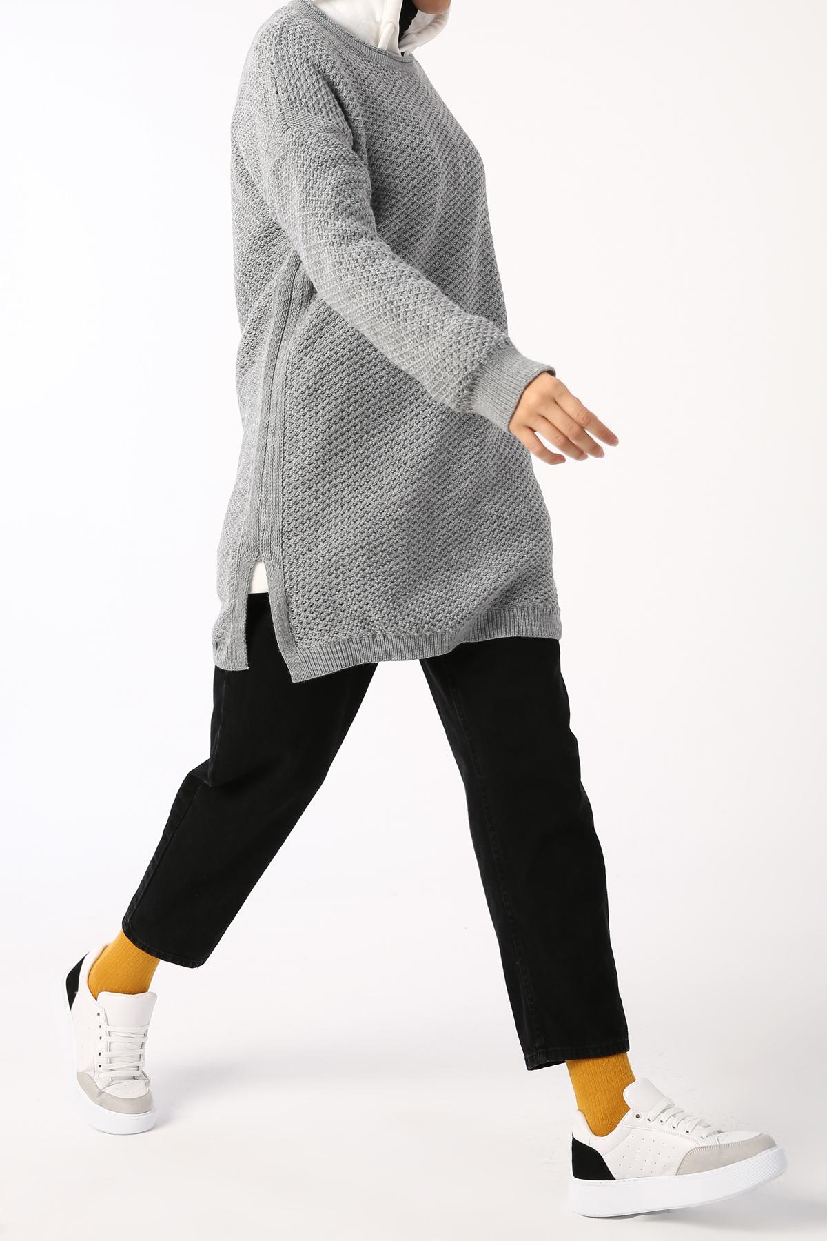 Crew Neck Knitwear Sheer Tunic