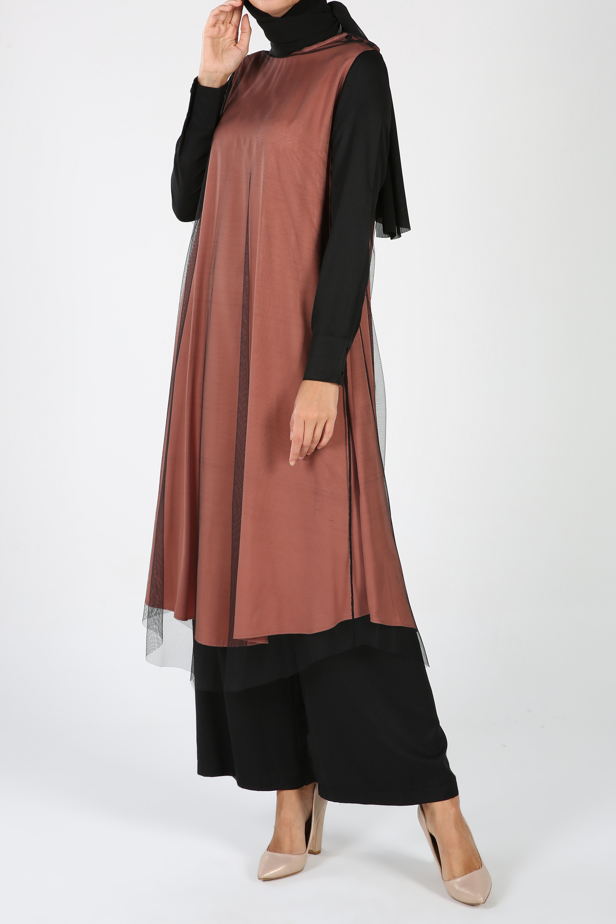 Crew Neck Long Tulle Blouse and Pants Outfit Set