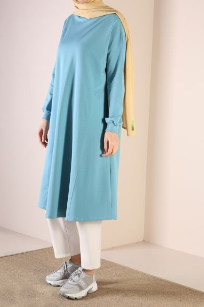 Crew Neck Flared Combed Cotton Tunic