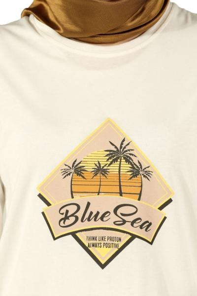 Blue Sea Baskılı Penye Tunik