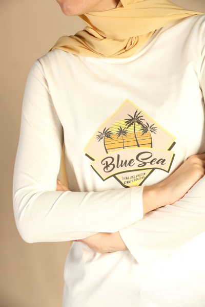 BLUE SEA PRINTED COMBED COTTON TUNIC