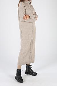 Boğazlı Saç Örgüsü Model Triko Tunik