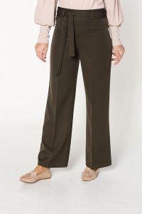 Bol Paça Kuşaklı Kumaş Pantolon