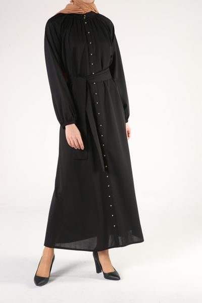 Kol Lastikli Boncuk Şerit Kuşaklı Elbise