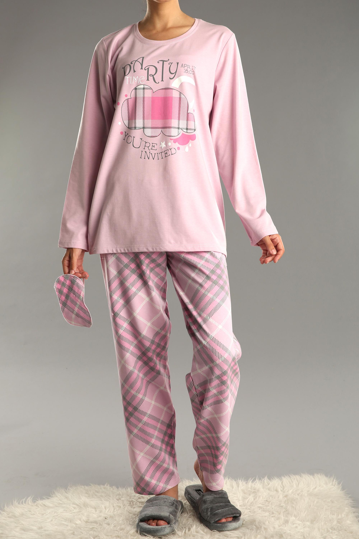 Büyük Beden 3 Parça Desenli Pijama Takımı