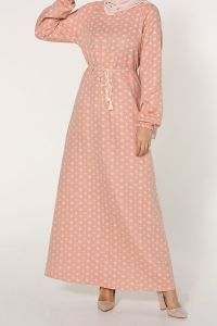 Büyük Beden Desenli Bağlamalı Elbise
