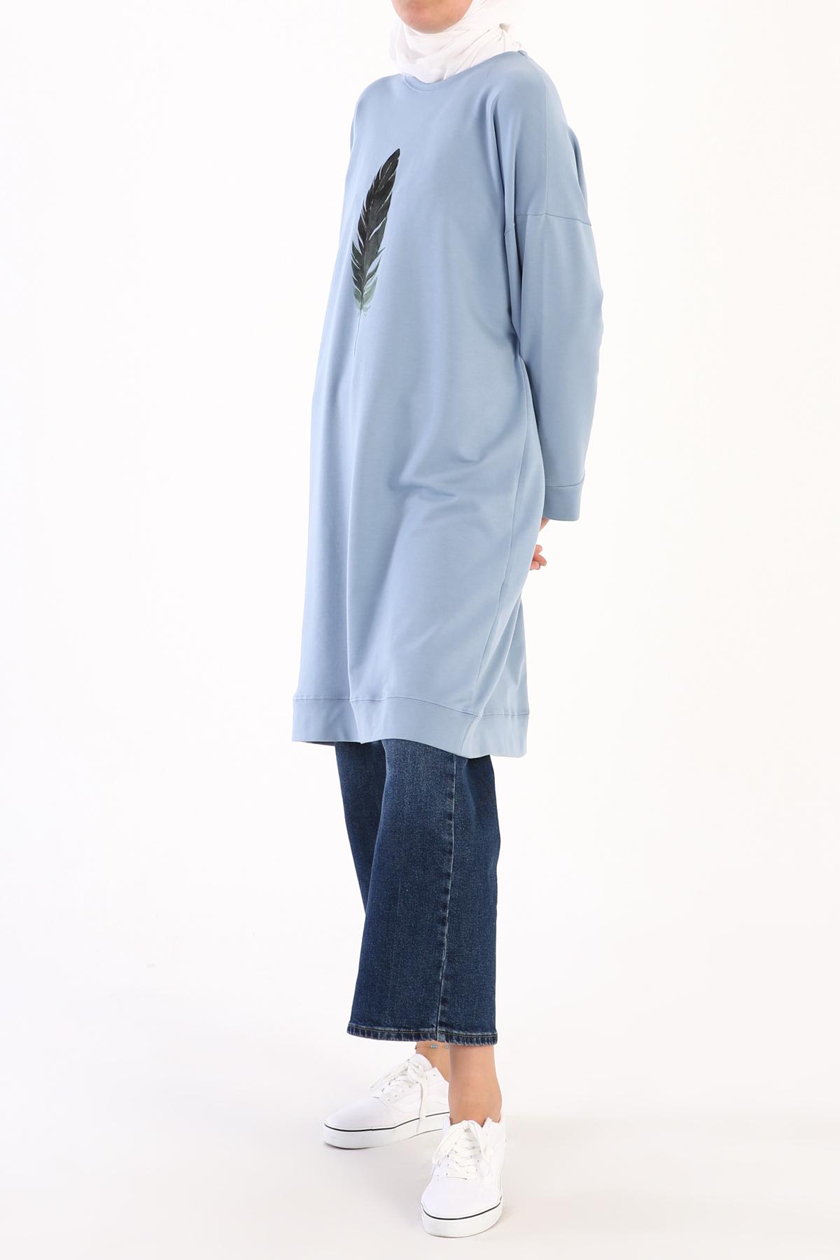 Plus Size Feather Printed Sweatshirt Tunic