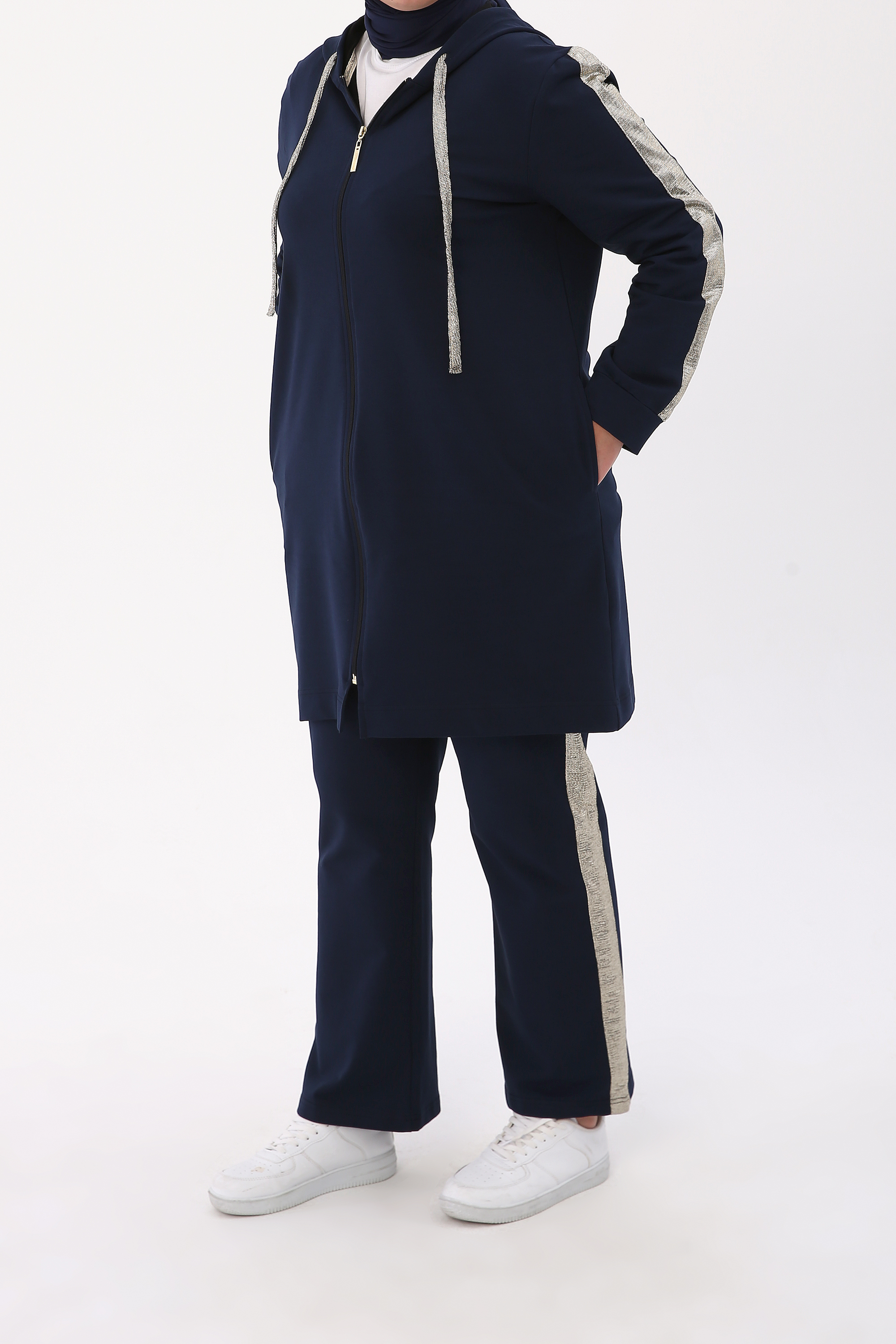 Hooded Zipper Front Plus Size Tracksuit