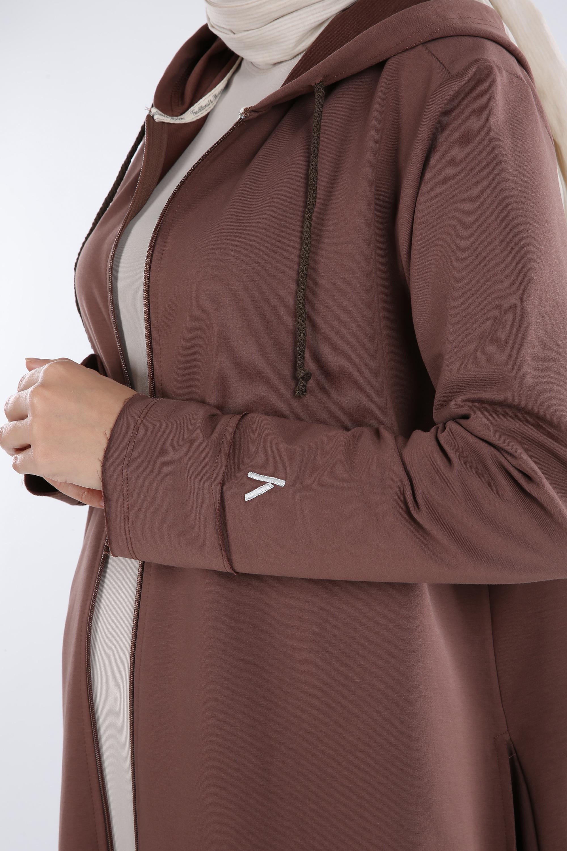 Plus Size Zippered Cardigan