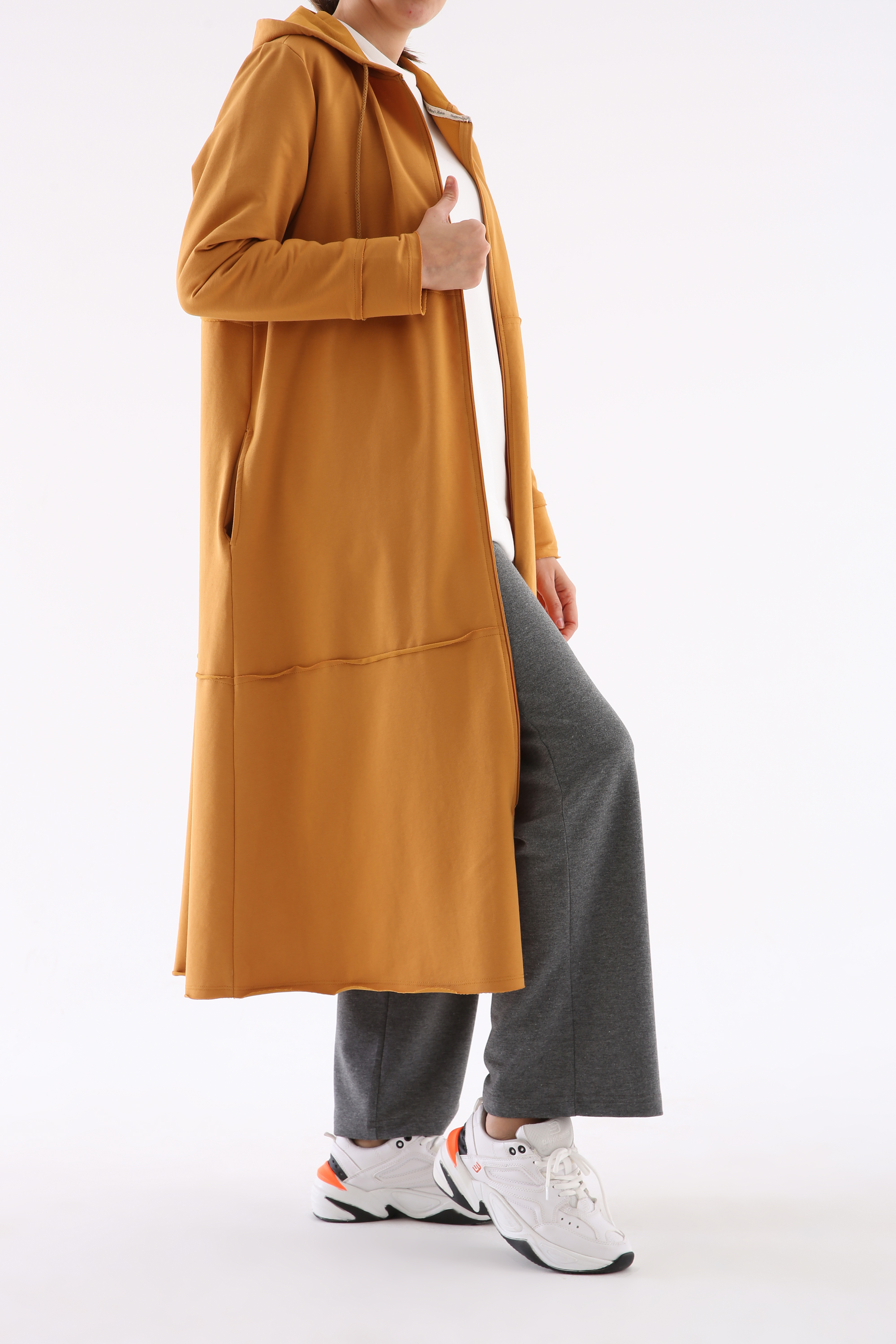 Plus Size Hooded Long Cardigan