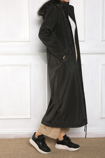 PLUS SIZE HOODED OVERCOAT