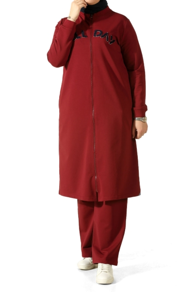 Plus Size Embroidered Tracksuit