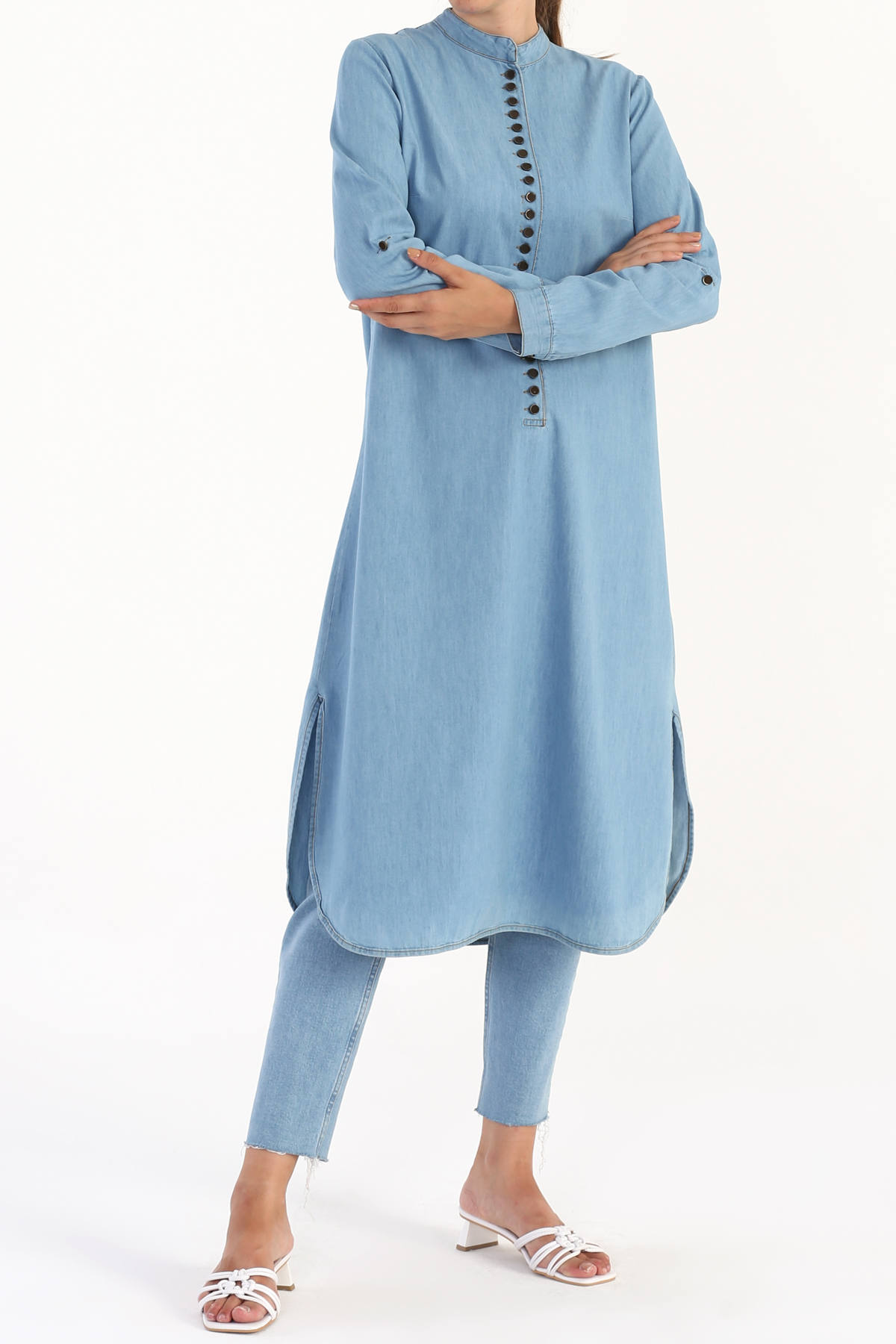 Plus Size Buttoned Denim Tunic