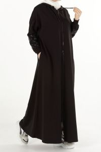 PLUS SIZE SEQUINED COMBED COTTON ABAYA