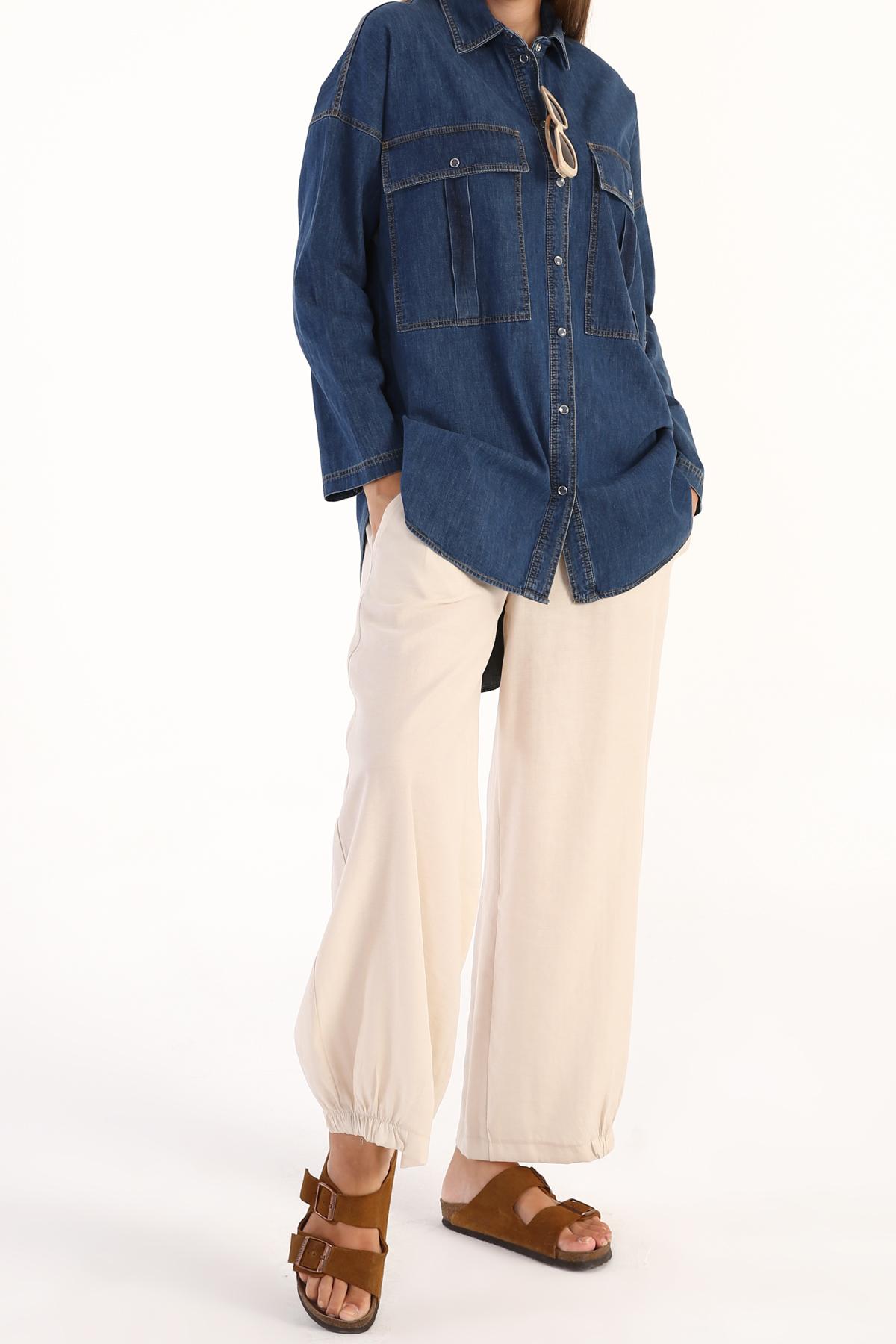 Flap Pocket Denim Shirt Tunic