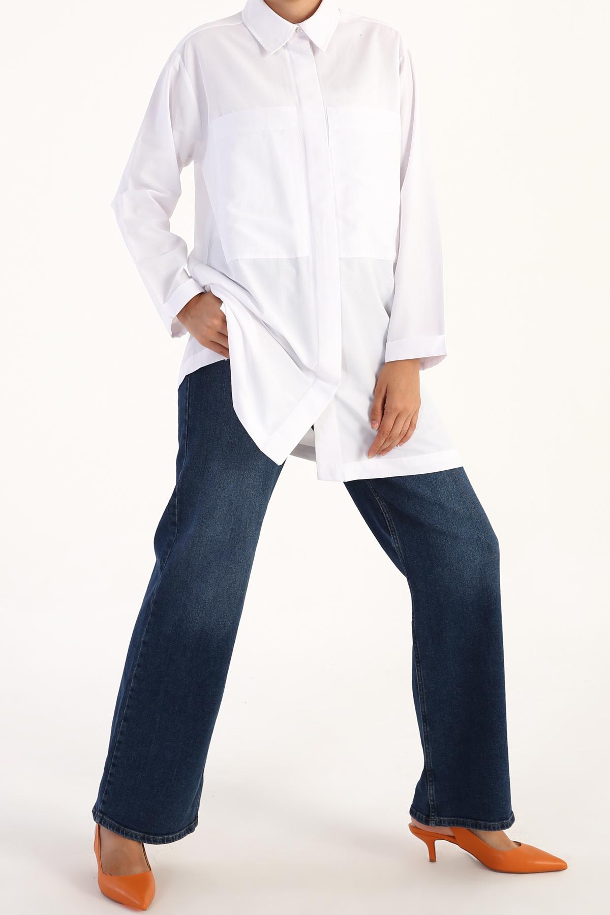 Büyük Cep Detaylı Gömlek Tunik