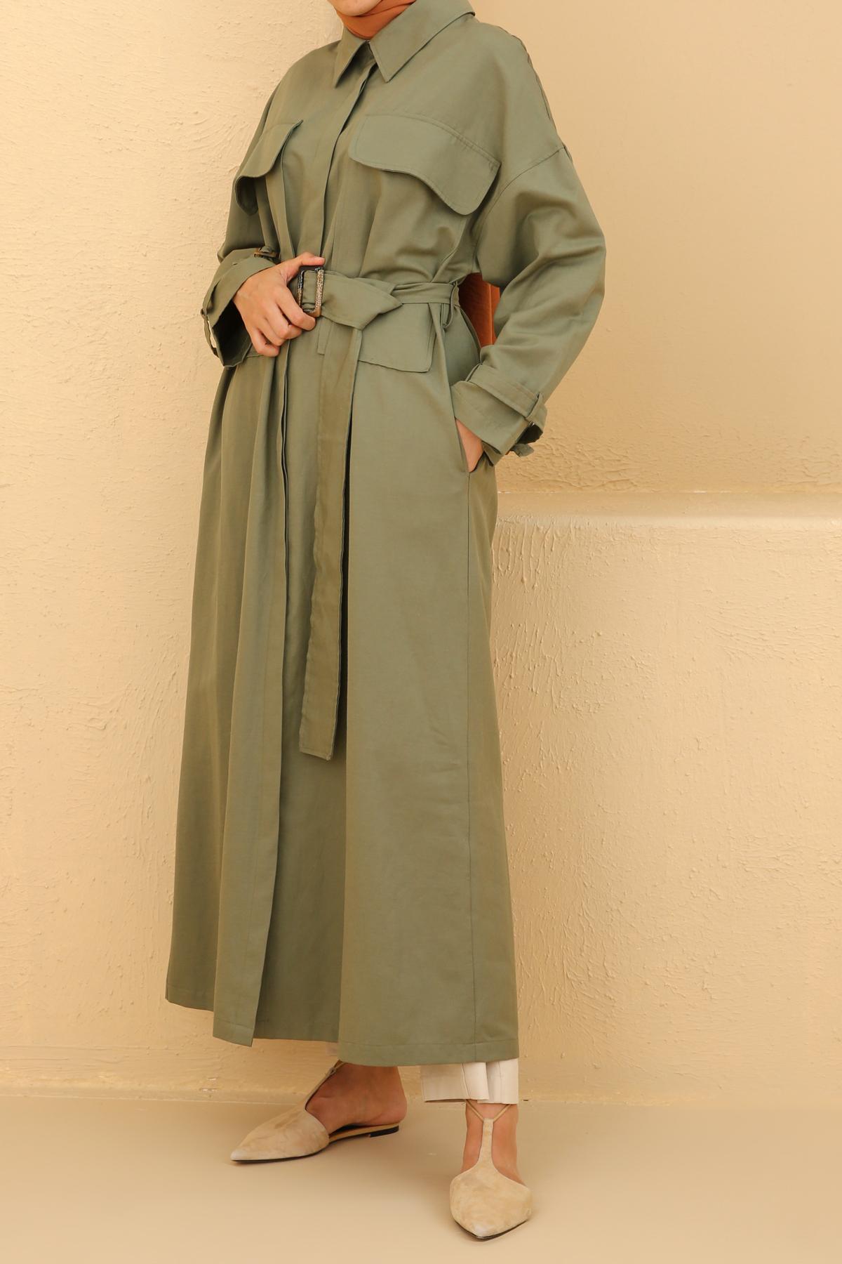 Huge Pocket Button Front Cotton Abaya