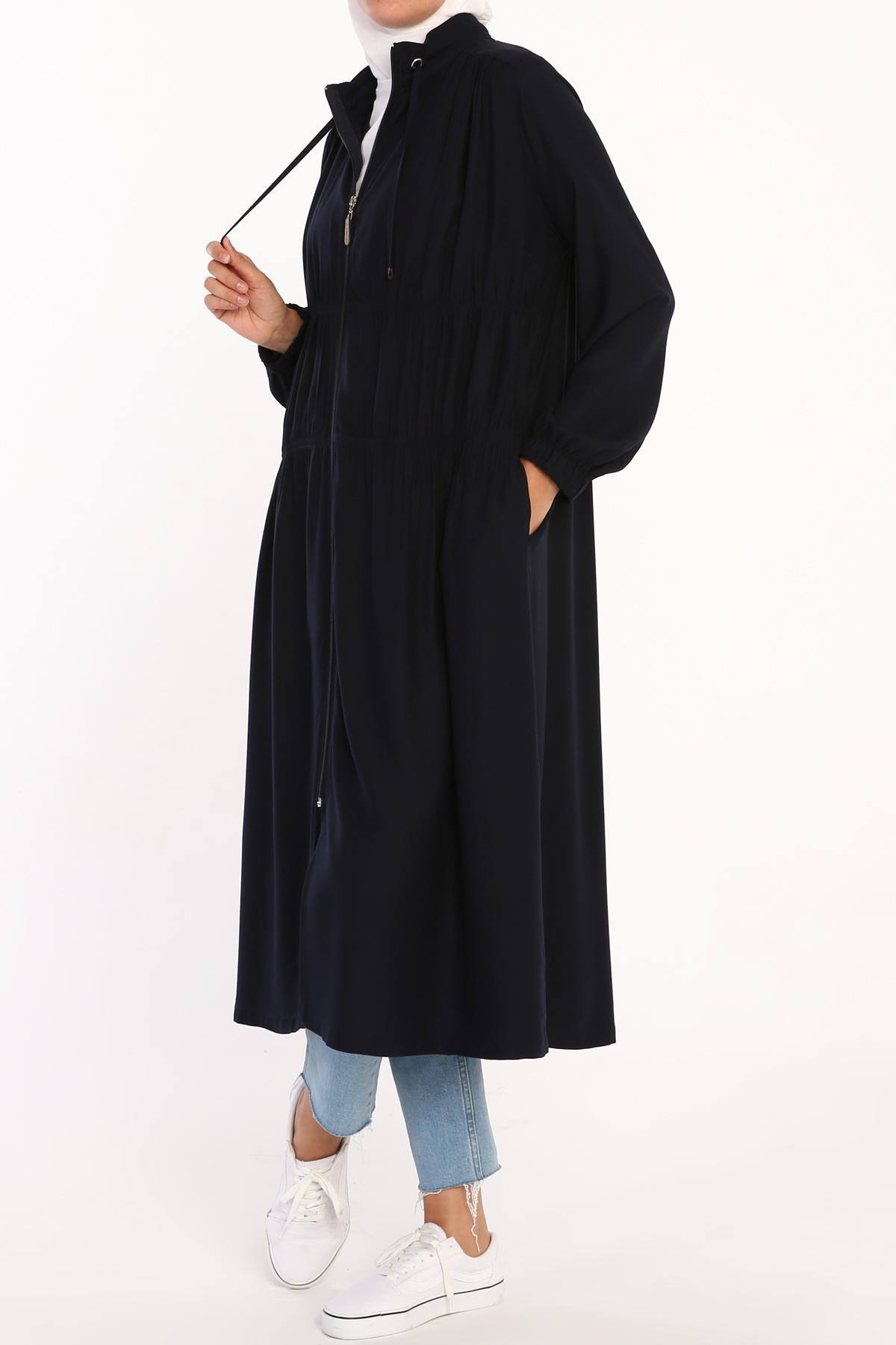 Comfy Zipper Front Shir Detailed Viscose Cape