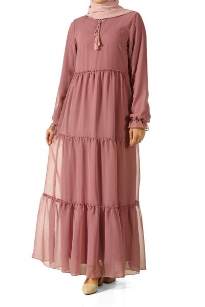 Büzgülü Astarlı Elbise