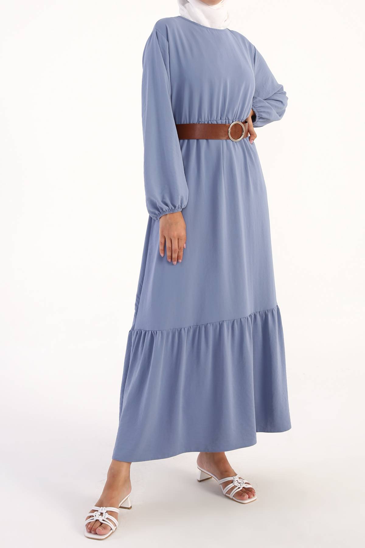 Bishop Sleeve Self Belted Maxi Dress