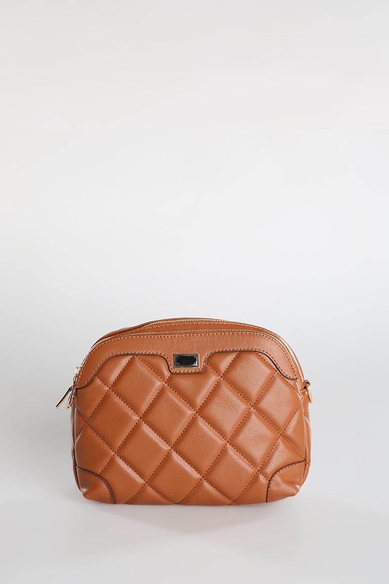 Çapraz Desenli Fermuarlı Çanta
