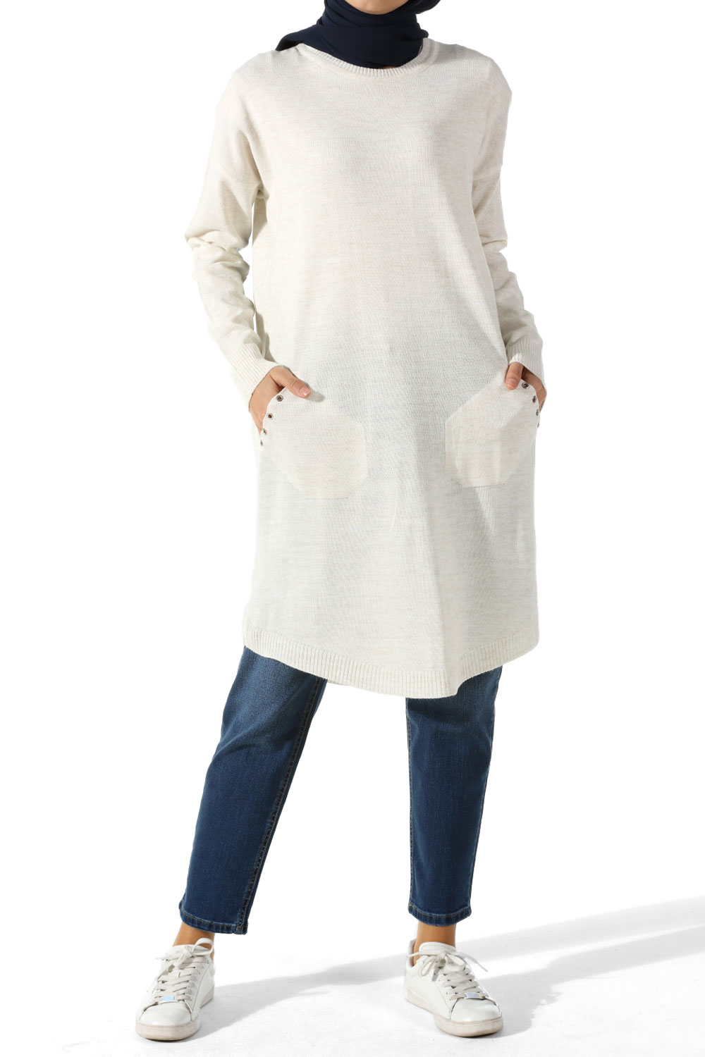 KNITWEAR TUNIC WITH EYELET DETAIL